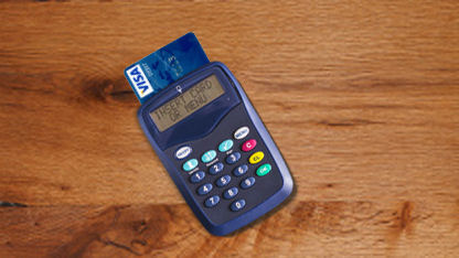 Anytime Banking card reader on a table