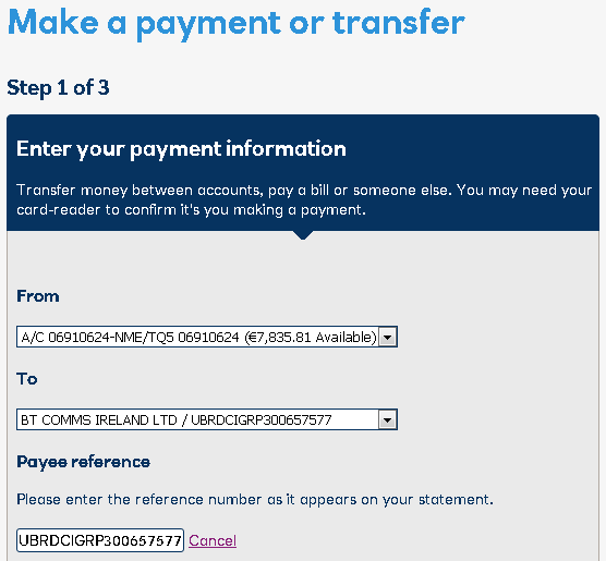 Change a payment reference