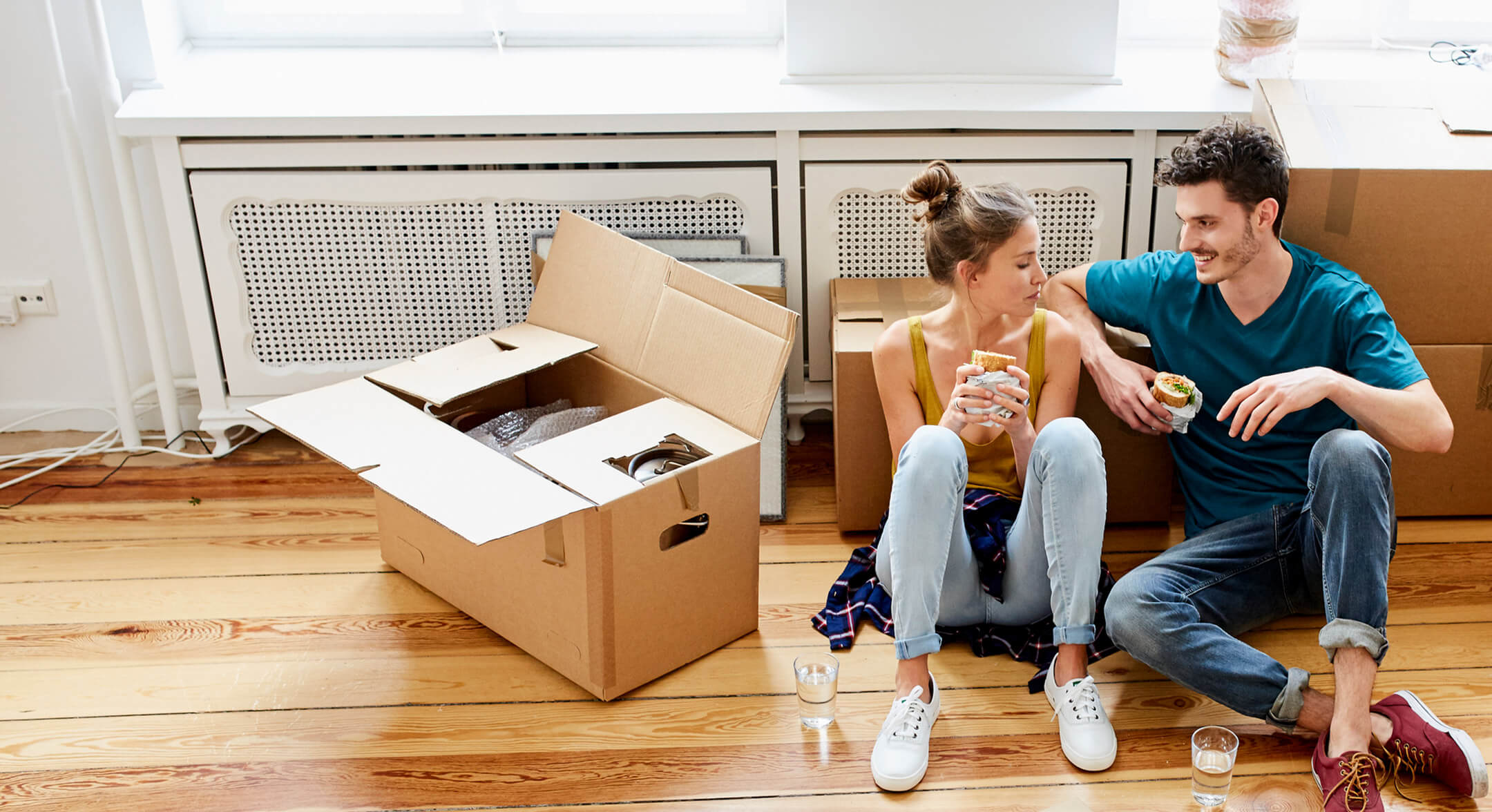 Couple moving home with an approved mortgage